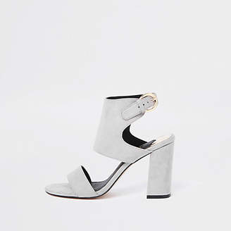 River Island Grey faux suede block heel sandals