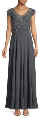 J Kara Cap-Sleeve Beaded Dress