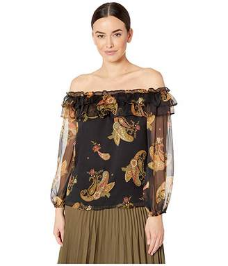 Vince Camuto Long Sleeve Paisley Spice Ruffled Off Shoulder Blouse