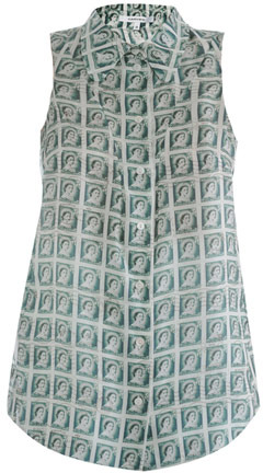 Carven Stamp-print silk blouse