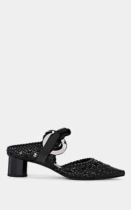 Proenza Schouler Women's Woven Leather Ankle-Tie Mules - Black
