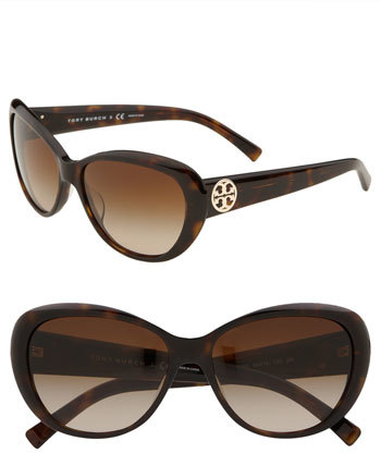 Women's Tory Burch 56Mm Cat Eye Sunglasses - Tortoise