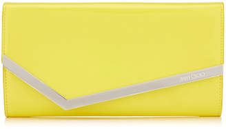 Jimmy Choo EMMIE Fluorescent Yellow Patent Clutch Bag