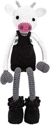 leggybuddy Mr. Bell Crocheted Cow Stuffed Animal, Black