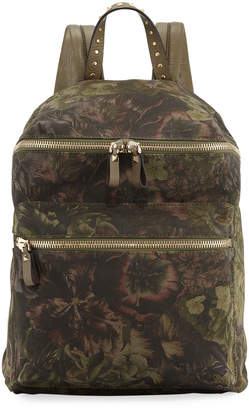 Valentino Floral-Pattern Canvas Backpack