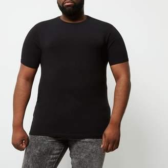 River Island Mens Big and Tall Black crew neck T-shirt