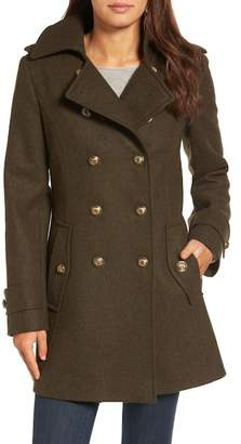 London Fog Wool Blend Skirted Military Coat