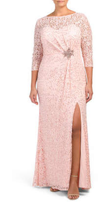 Plus Lace Overlay Column Gown
