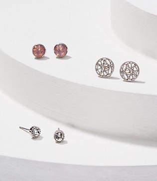 LOFT Crystal Filigree Stud Earring Set