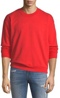 7 For All Mankind Men's Typographic Embroidered Sweatshirt, Red