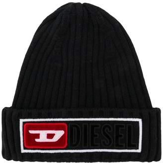 Diesel ribbed logo beanie hat