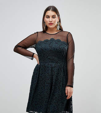 Asos Lace & Dobby Mini Skater Dress