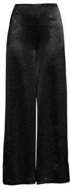 Ganni Heavy Satin Wide-Leg Polka Dot Pants