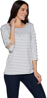 Factory Quacker Striped Rhinestone Lattice Sleeve Knit T-shirt