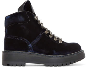 Prada Navy Velvet Hiking Boots