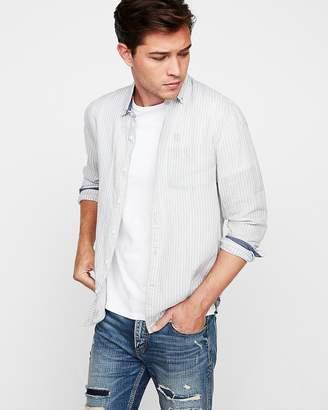 Express Slim Soft Wash Stripe Button-Down Shirt