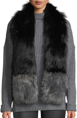 Love Token Faux-Fur Two-Tone Scarf with Pockets