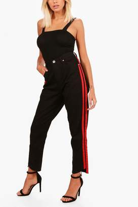 boohoo Sports Stripe Mom Jeans
