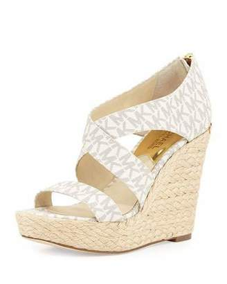 MICHAEL Michael Kors Elena MK Signature Wedge Sandals