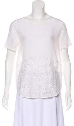 Equipment Lace Trim Silk Top