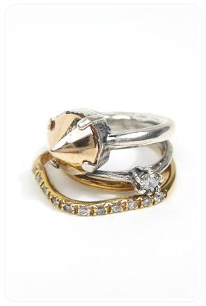 Iosselliani Gold Jewel and Rhinestone Fused Stack Ring
