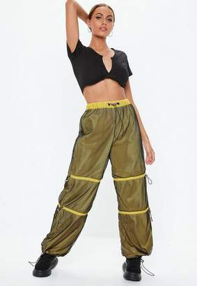 Missguided Yellow Fishnet Toggle Waist Joggers