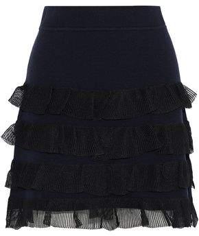 Derek Lam 10 Crosby Tiered Gauze-Trimmed Wool-Blend Mini Skirt