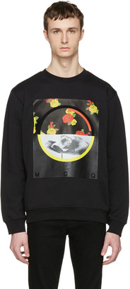 McQ Alexander McQueen Black Floral Clean Pullover $290 thestylecure.com