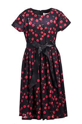 Emma Riley Girls' Short Sleeve Printed Chiffon Party Dress with Satin Belt