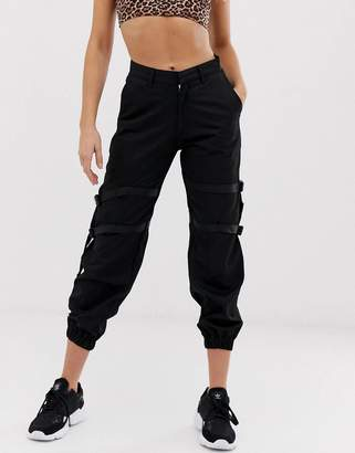 Motel high waist cargo pants with leg straps