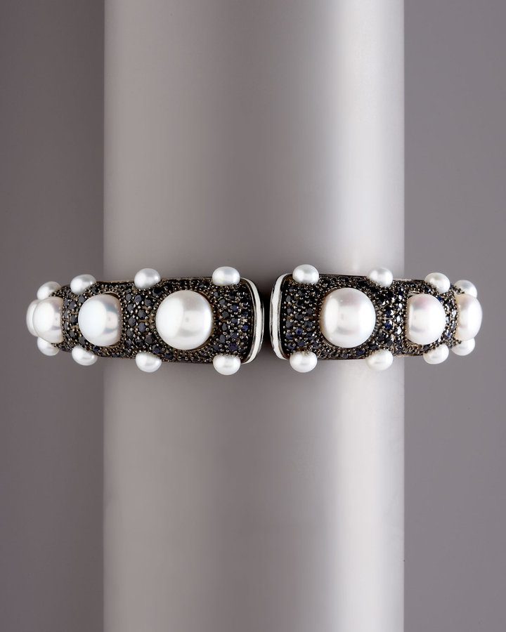 MCL by Matthew Campbell Laurenza Black Sapphire & Pearl Bangle