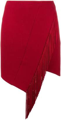 David Koma asymmetric fringed skirt