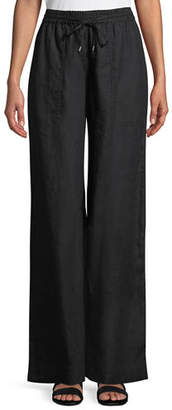 Eileen Fisher Organic Linen Drawstring-Waist Wide-Leg Pants