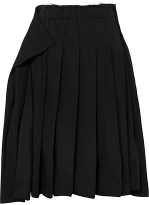 Comme des Garcons Pleated Wool-gabardine Midi Skirt - Black