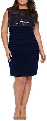 Scarlett Cap Sleeve Embroidered Shutter Bottom Dress - Plus