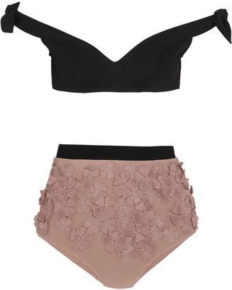 Zimmermann - Winsome Posy Appliquéd Bikini - Neutral $740 thestylecure.com