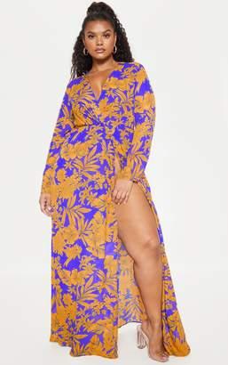 PrettyLittleThing Plus Cobalt Tropical Print Twist Front Maxi Dress