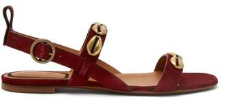 Etro Embellished Suede Sandals - Womens - Red