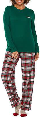 Liz Claiborne Knit Plaid Pant Pajama Set With Socks-Tall