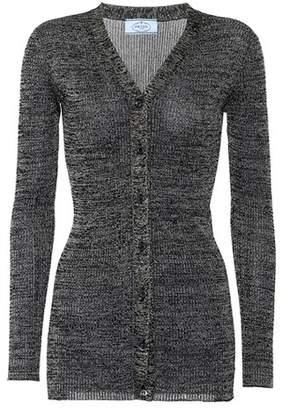 Prada Metallic rib-knit cardigan
