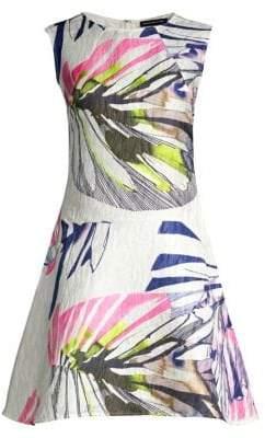 Josie Natori Botanical Palms Jacquard Fit-&-Flare Dress