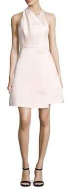 Halston Draped Satin Faille Halter Dress