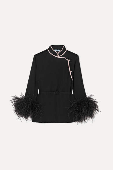 Prada - Feather-trimmed Silk-crepon Top - Black