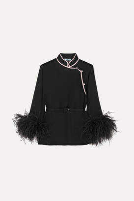 Prada Feather-trimmed Silk-crepon Top - Black