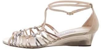 Jimmy Choo Metallic Multistrap Wedge Sandals