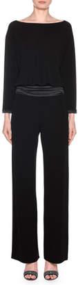 Giorgio Armani Long-Sleeve Satin-Waist Straight Leg Jumpsuit