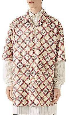 Gucci Men's Checkerboard Belts-Print Bowling Shirt