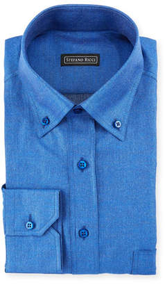 Stefano Ricci Denim-Weave Dress Shirt