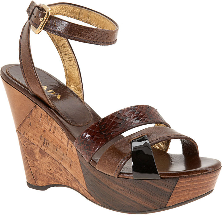 PRADA Patchwork Wedge - Brown