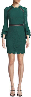 Bardot High-Neck Ruffle-Sleeve Lace Body-Con Dress